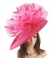 Fuchsia Pink Large Ascot Hat for Weddings, Ascot, Derby M10