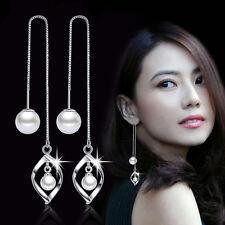 Womens 925 Sterling Silver 2 Freshwater Pearl Leaf Long Chain/Link Stud Earrings