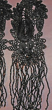 ANTIQUE c1880 FRENCH BLACK BEADED BLACK GLASS BEADED DANGLES JET APPLIQUES SET 6
