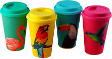 More details for set of 4 tropical birds eco friendly bamboo travel mugs / cups with lids