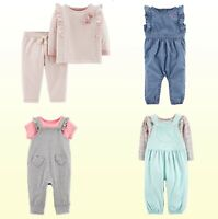 Baby Girls 2Pc Pink Dot-Heart Top Pants Set Carters or Blue Overall & Floral Set