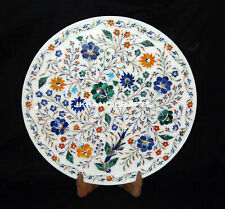 """12"""" Marble Serving Plate Marquetry Multi Color Stone Inlaid Kitchen Decor"""
