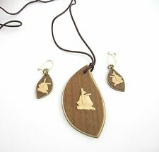 SAILBOAT Necklace and Pierced Earrings SET Vintage Hand Carved Wood Vtg