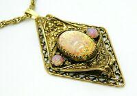 Pcraft Pink Faux Glass Opal Gold Tone Medallion Pendant Necklace Vintage 1960s B