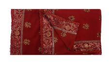 Indian Vintage Crepe Silk Women's Saree Bohemian Embroidery Work Craft Fabric