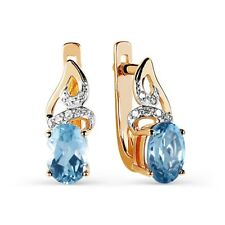 585/14 Ct Rose Gold Earrings with Diamonds and Topaz