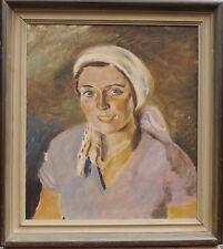ERIK BRANDT 1910-1997 PORTRÄT - FRAU MIT KOPFTUCH - ART DÉCO - 1937 - ÖLGEMÄLDE