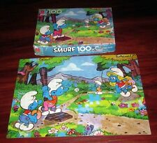 SMURFS beat-up jigsaw puzzle 1980s baseball Smurfette as pitcher Peyo softball