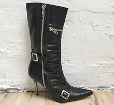 Steve Madden BLACK LEATHER Sexy BONDAGE Buckle STRAPS Zippers MID-CALF BOOTS 7.5