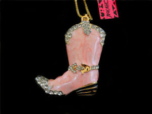 Betsey Johnson Women's Enamel Crystal Fashion Boot Pendant Long Necklace Gift