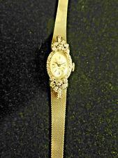 14k White Gold Nicolet 17 Jewel Diamond Wrist Watch Vintage ladies.
