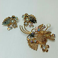 Vintage Brooch Pin Clip On Earring Set Austria Gold Costume Flower Rhinestones