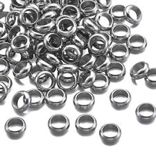 100pcs 304 Stainless Steel Ring Metal Beads Large Hole Loose Spacers Craft 8mm