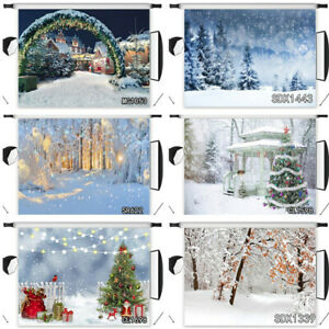 Nature Winter Snow Forest Christmas Tree Photo Background 10X8FT Vinyl Backdrop