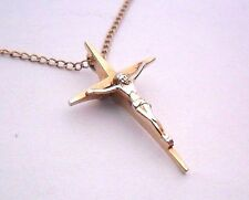 VINTAGE JESUS CROSS GOD GOLD FILLED 1/20 12K GF MA LOVELY LADIES PENDANT CHARM
