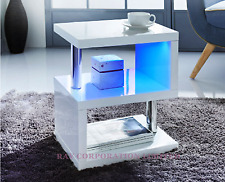 Alaska design moderno bianco lucido Caffè/Side Table con Luci LED Blu