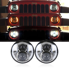 "7"" Inch Led Headlight Halo DRL Angel Eyes Signal For Jeep Wrangler JK TJ 97-17"