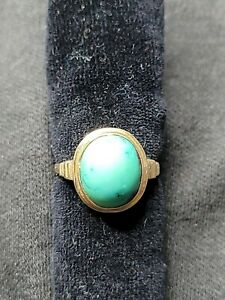 Vintage 14k Yellow Gold And Turquoise Ring Size 7.5