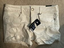 American Eagle White Destroyed Shorts midi low rise super stretch size 10 Nwt's