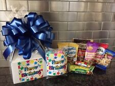 Happy Birthday Star Gift Box-Basket Wrapped With Blue Bow-Card-Snacks-Candy