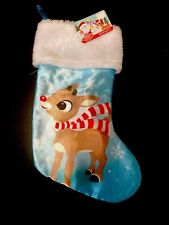 """15"""" Rudolph Red Nose Reindeer Christmas Mantle Stocking Brand New Light Blue"""