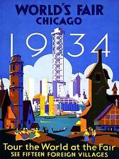EXHIBITION CULTURAL WORLD FAIR CHICAGO 1934 ILLINOIS USA ADVERT POSTER 1749PYLV