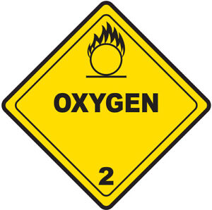 45-200mm Hazard Warning Stickers Oxygen Sign Safety COSHH HACCP Hazchem