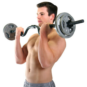 """CAP Combo Curl Bar Holds Standard 1"""" Weight Lifting Plates - NEW - FAST SHIPPING"""