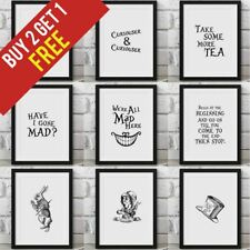 Alice in Wonderland Poster Framed Wall Print Movie Cheshire Cat Smile Mad Hatter