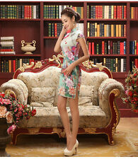 Girl Lady QiPao women Slim short Mini Chinese Dress Bodycon slim party Cheongsam