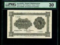 Seychelles:P-13a,50 Rupees,1954 * Queen Elizabeth II * PMG VF 30 *