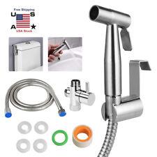 Stainless Steel Handheld Bidet Spray Shower Head Toilet Shattaf Adapter Hose Set