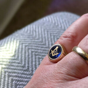 "Masonic Solid 9 Carat Gold Master Mason`s Ring Sapphire Blue Stone UK Size ""T"""