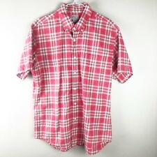 J.CREW Short Sleeve Shirt Men's Size Large Summer Plaid Checks Pink Green