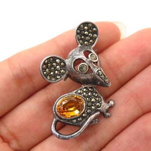925 Sterling Silver Real Citrine & Marcasite Gem Mouse Design Pin Brooch