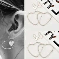 2 Pairs Heart Women Jewelry Big Hoop Earrings Hip-Hop Silver Dangle Ear Studs HS