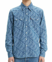Levi's Classic Casual Denim Printed Sawtooth Western Shirt 0104