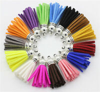 Wholesale 10Pcs Suede Leather Tassel DIY Keychain Pendant Jewelry Finding Charms