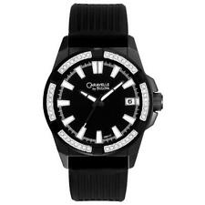 Bulova Men's Black Analog 45B117 Silicone Clear Crystal Strap Caravelle Watch