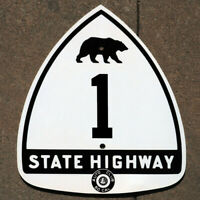 California ACSC bear route 1 highway road sign auto club Pacific Coast Highway