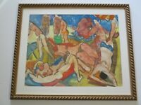 MILTON AVERY STYLE WATERCOLOR PAINTING UNSIGNED NUDE BEACH MID CENTURY MODERNISM