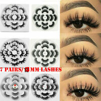 7Pairs 5D Mink Hair False Eyelashes 13mm Lashes Thick Wispy Fluffy Extension Set