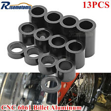 """13x CNC Solid Aluminum Wheel Axle Spacers Kit ID-3/4 OD-1-1/8"""" Black For Harley"""