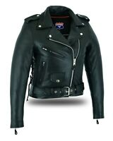 Women's Full Length Motorcycle Jacket with Side Lace