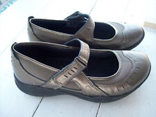 Clarks Wave Mary Janes~Pewter Leather Mesh Walking Shoe~Womens 7M