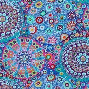 Free Spirit Kaffe Fassett Millefiore PWGP092.Aqua Contemporary Cotton Fabric BTY
