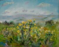 Cowslips, Wensleydale, IMPRESSIONISM, Yorkshire.Signed.Oil on Canvas. Plein-air.