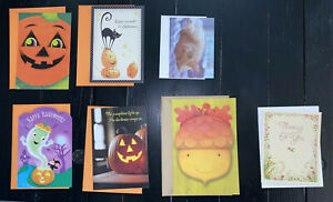 LOT 7 Hallmark Greeting Cards 4 Halloween, 1 Thanksgiving, 2 Thinking Of You