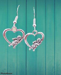 Silver Tone Heart Earrings Tibetan Hearts Cupid Love Romantic Gift