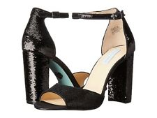 "BLUE BY BETSEY JOHNSON "" Calie "" Black Sequin Open Toe Block Heel Size 7.5"